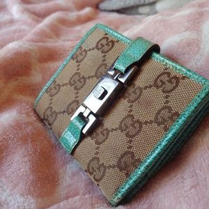 GUCCI rare turquoise leather GG canvas wallet